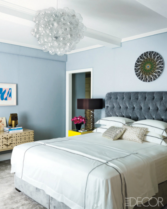 Interior design ashley stark manhattan apartment - Baby blue living room decor ...