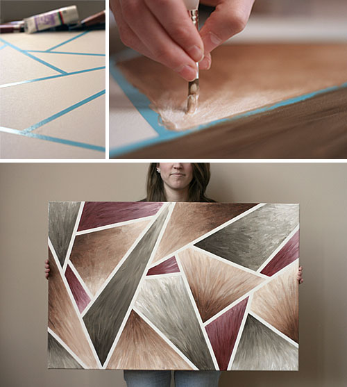 Diy Wall Art Canvas Tape : Diy painting abstract artwork arhitektura