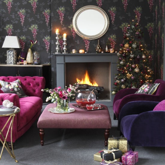 living-room--Christmas--glam--Ideal-Home