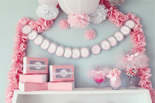 Ballerina Theme Idea for Baby Shower 600 x 400