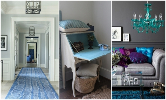 blue and grey interiors #decor #arhitektura+