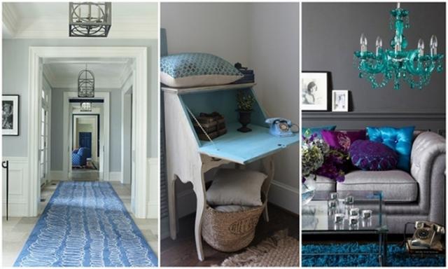 blue and grey interiors #decor #arhitektura+